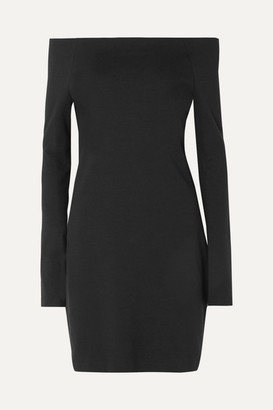 The Row Hunting Off-the-shoulder Stretch Modal-blend Jersey Mini Dress - Black