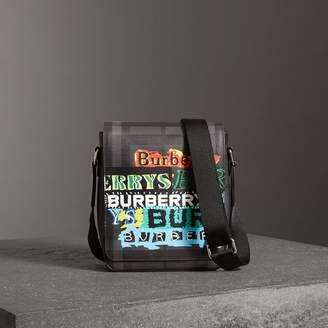 Burberry Tag Print London Check Crossbody Bag