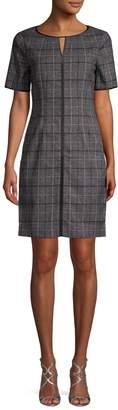 T Tahari Plaid-Print Sheath Dress