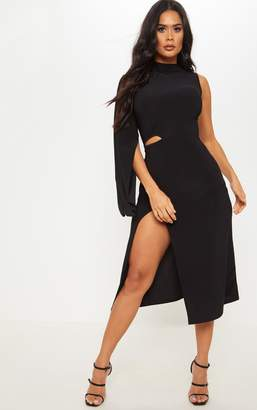 PrettyLittleThing Black Slinky One Sleeve Split Detail Midi Dress