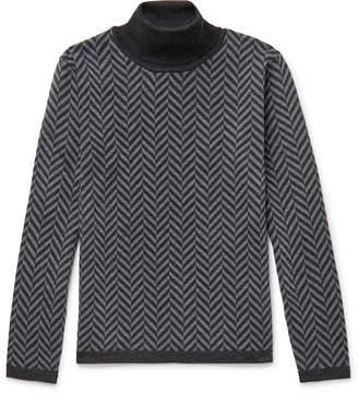 Barena Herringbone Virgin Wool Rollneck Sweater