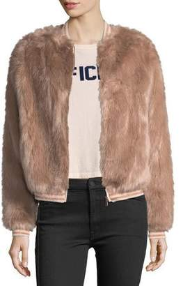 Mother Letterman Faux-Fur Bomber Jacket