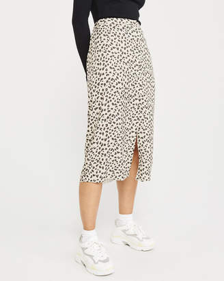 Abercrombie & Fitch Button-Front Leopard Midi Skirt
