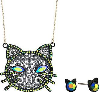 Betsey Johnson GBG) Betsey's Dark Magic Cat Pendant Necklace and Stud Earrings Set