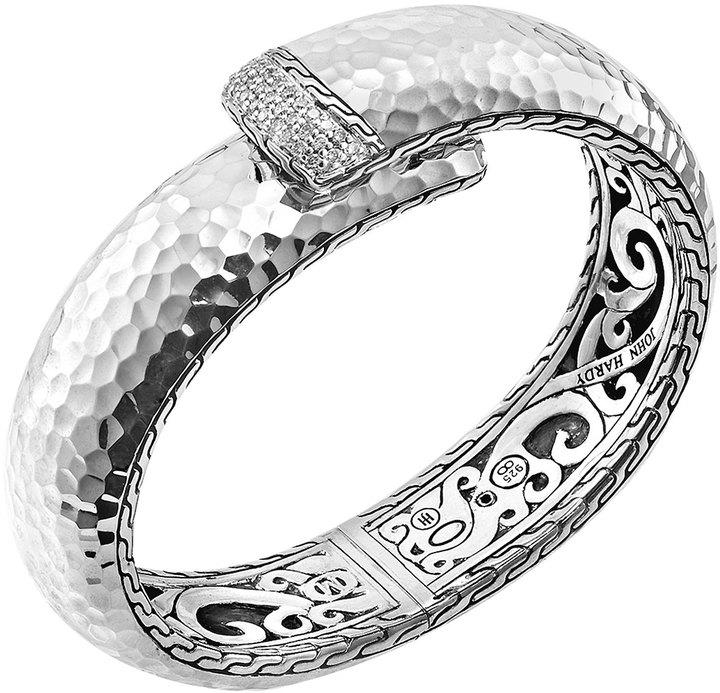 John Hardy Large Palu Silver Kick Cuff with Diamonds
