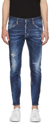 DSQUARED2 Blue Top Spot Skinny Dan Jeans