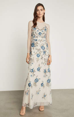 BCBGMAXAZRIA Floral Embroidered Evening Gown