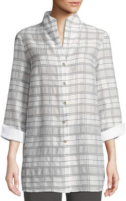 Misook 3/4-Sleeve Soft Plaid Shirt Jacket, Plus Size