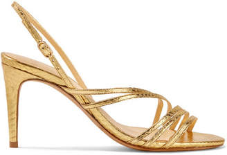 Alexandre Birman Shanty Watersnake Slingback Sandals - Gold