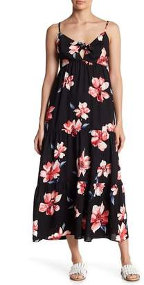 Soprano Tiered Patterned Knot Front Maxi Dress