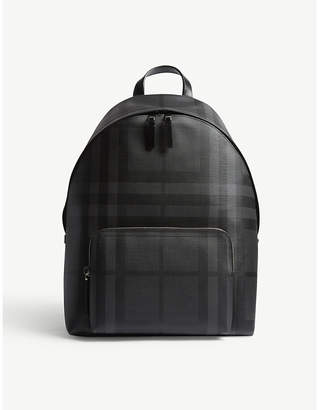 Burberry check leather trim backpack