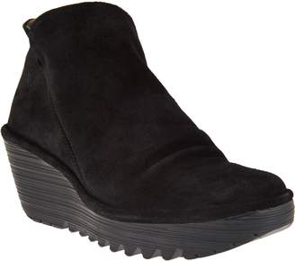 Fly London Suede Ruched Ankle Boots - Yip