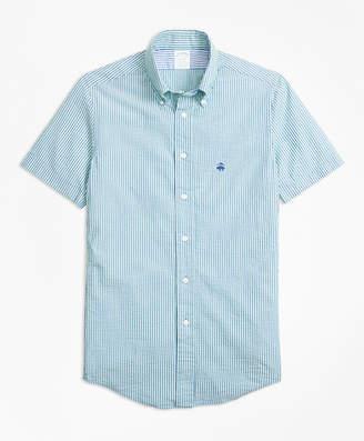 Brooks Brothers Milano Fit Stripe Seersucker Short-Sleeve Sport Shirt