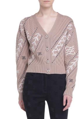Fendi Wool-Cashmere Button-Front Crop Cardigan