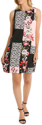 Oriental Rose Sleeveless Shift Dress