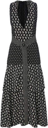 Proenza Schouler Printed V-Neck Midi Dress