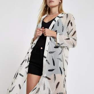 River Island Womens Cream feather print duster jacket