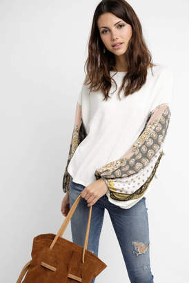 Free People Blossom Thermal Mixed Print Sleeve Blouse
