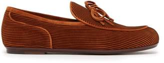 Bottega Veneta - Trinity Striped Suede Loafers - Mens - Dark Brown