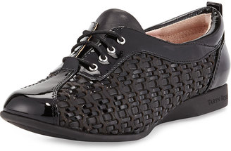 Taryn Rose Trudee Woven Lace-Up Sneaker, Black $229 thestylecure.com