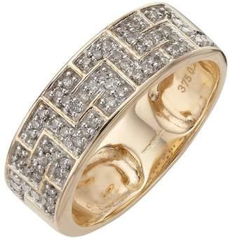 Love DIAMOND 9 Carat Yellow Gold 25 Point Diamond Greek Key Band Unisex Ring