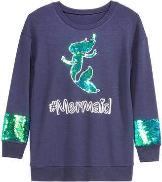 Beautees Big Girls Mermaid Reversible Sequin Sweatshirt