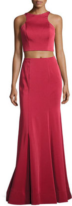 La Femme Sleeveless Satin Lattice Two-Piece Gown, Dark Red $350 thestylecure.com