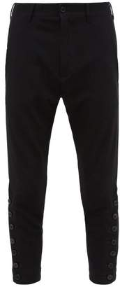 Ann Demeulemeester Cropped Buttoned Ankle Stretch Jersey Trousers - Mens - Black