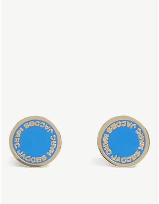 Marc Jacobs Enamel disc stud earrings, Black/argento