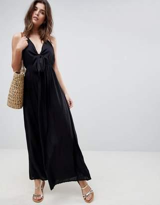 Asos DESIGN Woven Tie Front Maxi Beach Dress