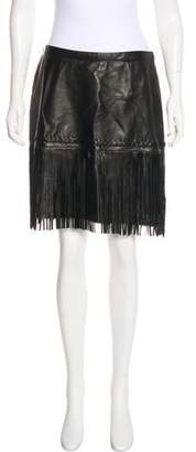 L'Agence Leather Fringe Skirt