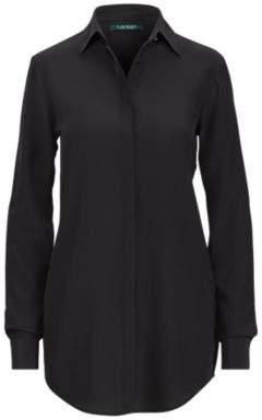 Ralph Lauren Silk Crepe Button-Down Shirt Polo Black M