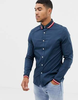 Asos Design DESIGN skinny shirt in navy with ribbed collar & cuff
