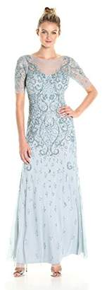 Adrianna Papell Women's 3/4 Sleeve Fully Beaded Gown,6