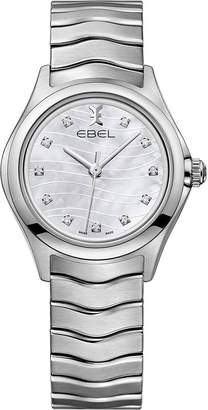 Ebel Wave Dial Diamond Set Stainless Steel Bracelet Ladies Watch