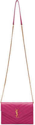 Saint Laurent Pink Envelope Chain Wallet Bag