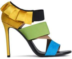 Emilio Pucci Pleated Satin Suede And Woven Sandals