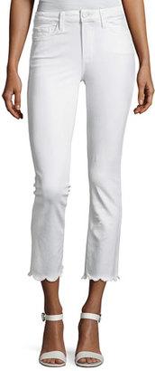Paige Jacqueline Cropped Straight-Leg Jeans W/ Scallop Hem, White $235 thestylecure.com