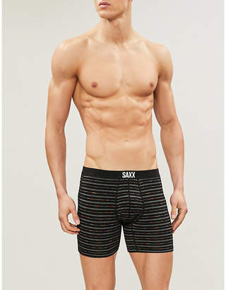 Saxx Mens Black Gradident Stripe Slim Fit Stretch Jersey Boxer Briefs