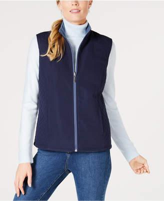 Karen Scott Petite Reversible Zip Vest, Created for Macy's