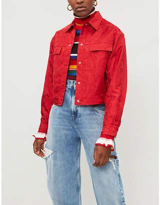 Mo&Co. Jacquard-weave lightweight trucker jacket