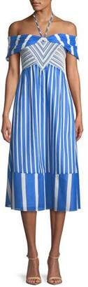 Tanya Taylor Celina Striped Off-the-Shoulder Midi Dress