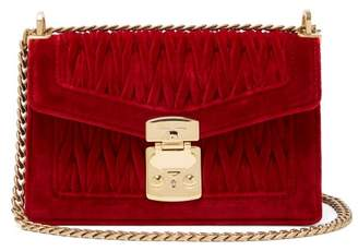 Miu Miu Confidential Matelasse Velvet Shoulder Bag - Womens - Red