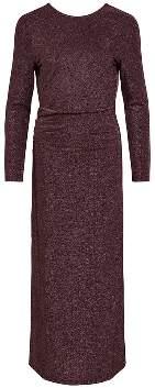 Vila Long Burgundy Polyamide Lurex Dress - XS - Brown/Purple