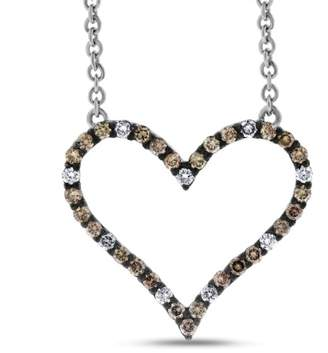 14k White Gold 0.90 Ct. Natural Shades Of Champagne Diamond Large Heart Pendant