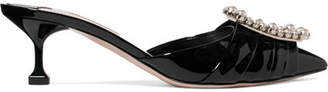 Miu Miu Faux Pearl-embellished Patent-leather Mules - Black