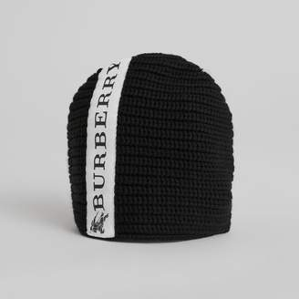 Burberry Logo Stripe Wool Beanie