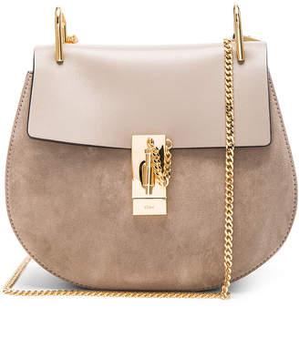 Chloé Small Drew Suede & Calfskin Shoulder Bag in Motty Grey | FWRD