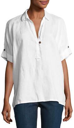 Go Silk Oversized Short-Sleeve Linen Tunic, Plus Size