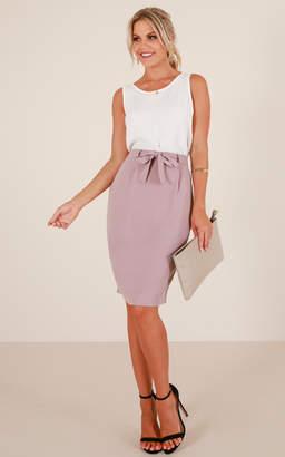 Showpo High Street skirt in taupe